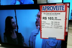 TV in electronics shop in Curitiba, photo by Ben Tavener