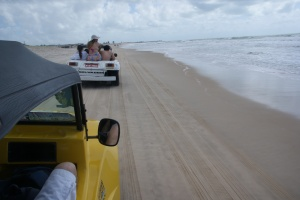 Dune buggies on the beach around Genipabu, north of Natal. Photo by Ben Tavener.