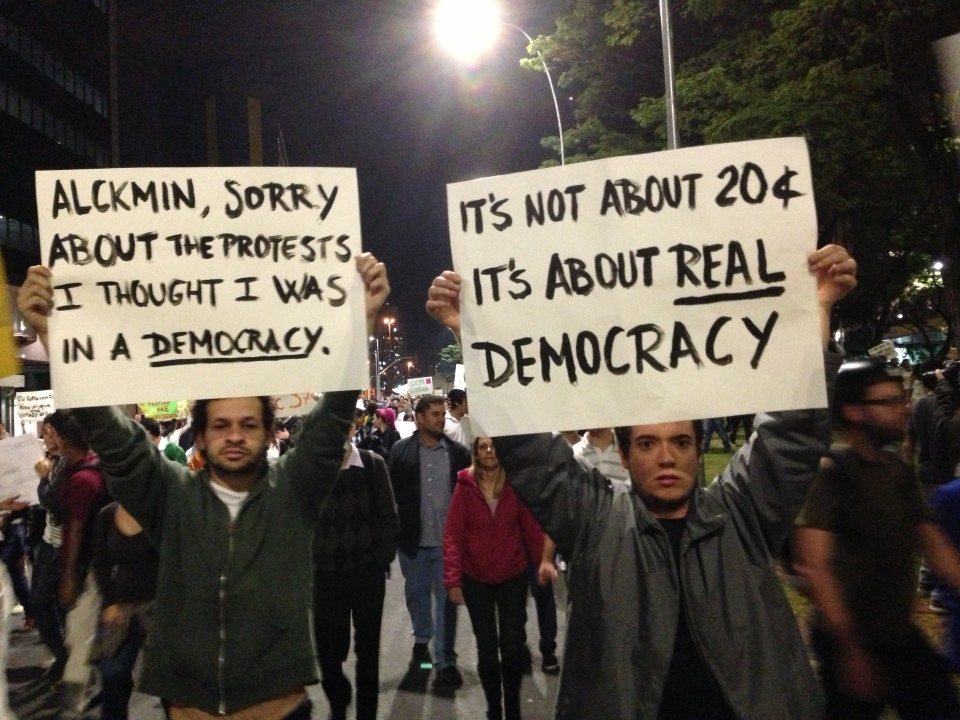 São Paulo protest on Monday 17 June. Photo by Ben Tavener.