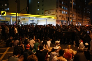 Protesters near the Maracanã stadium during Confederations Cup final. Photo by Ben Tavener.