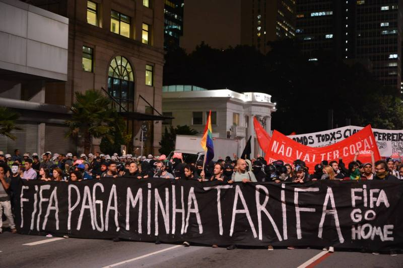 Sao Paulo World Cup Protest. 27 March 2014. Photo by Ben Tavener