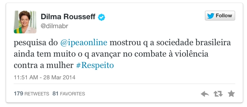 Dilma tweets on violence against women.