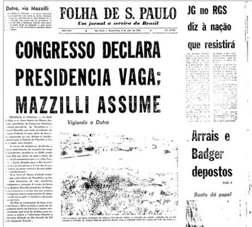 Folha newspaper, 1 April 1964.