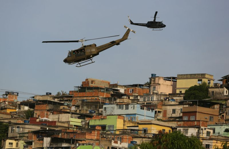 Police pacification operation over the Maré favela complex, Rio de Janeiro. Photo: AP