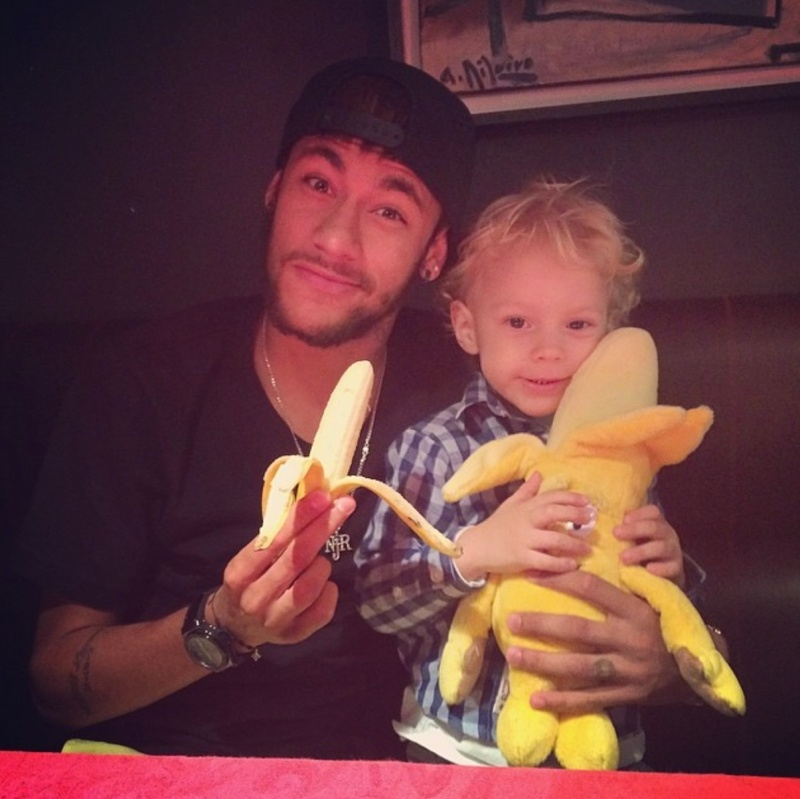 Neymar poses with his son in this picture posted on his Instagram as part of the #somostodosmacacos #weareallmonkeys campaign.