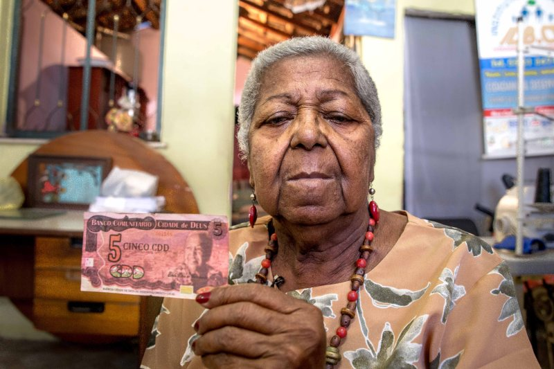 Benta Neves do Nascimento is featured on the Cidade de Deus currency. Photo by Steffen Stubager